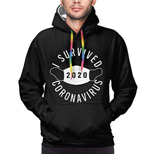 QIUYUANhat I Survived 2020 C-Oronavirus Men's Pullover Hoodie Hooded Sweatshirt Pullover Hoodie Black