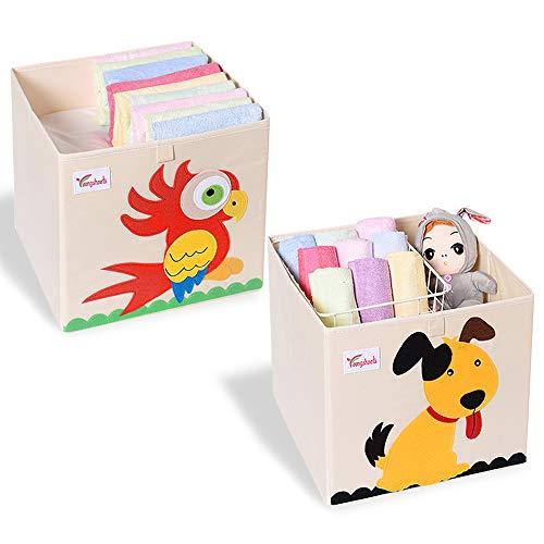 SITAKE Conjunto de 2 Caja de Almacenamiento para Niños - Caja de Juguetes y Almacenamiento - Caja y Armario Organizador para niños (Perro y Loro)
