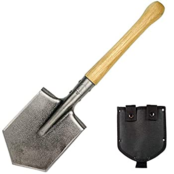 Mastiff Gears Shovel with Hardwood Handle Compact Outdoor Gear for Camping Fishing Hunting Gardening Emergency Tool Excel in Digging Entrenching Light-Duty Chopping Cutting  Battle Wolf