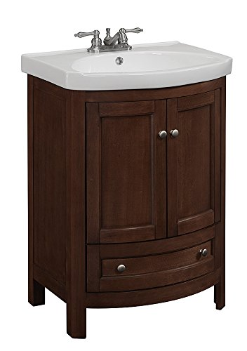 RunFine RFVA0069 Vanity with Vitreous China Top, One Drawer and Cabinet and Doors, Walnut Finish