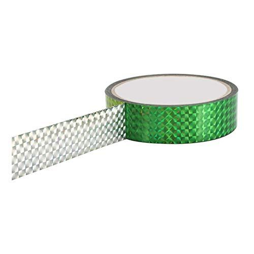 Leezo Rhythmische Gymnastik-Dekoration, holografische Tapes RG Prismatische Glitzerbänder Gimnasia Ritmica Artistic Hoops Stick 15 mm x 30 m, grün