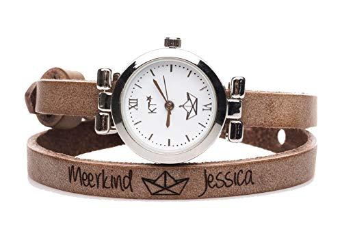 Lederarmband Uhr in Hellbraun mit Papierboot Symbol und Wunschtext, Edelstahluhr mit versilbertem Gehäuse, Länge 42 cm, Breite 8 mm