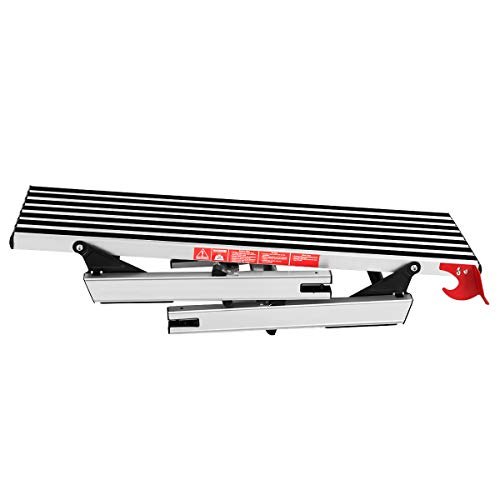 COSTWAY Plateforme de Travail Aluminium Pliable Capacité de 150 KG avec Serrures de Sécurité,Surface Antidérapante 126 x 30 x 49,5CM pour Maison,Bureau, Atelier et Garage