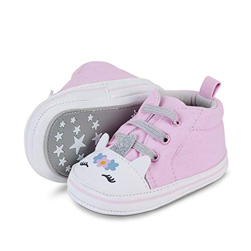 Sterntaler Baby-Schuhe für Mädchen, Rutschfeste Sohle, Schuhspitze im Einhorn-Look, Farbe: Rosa, Größe: 17/18, Art.Nr.: 2302120.0
