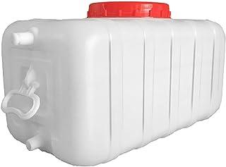 水容器、家庭用品屋外の厚いプラスチック製のバケツ、ふたとハンドル付きの大きな白い食品グレードの水貯蔵容器