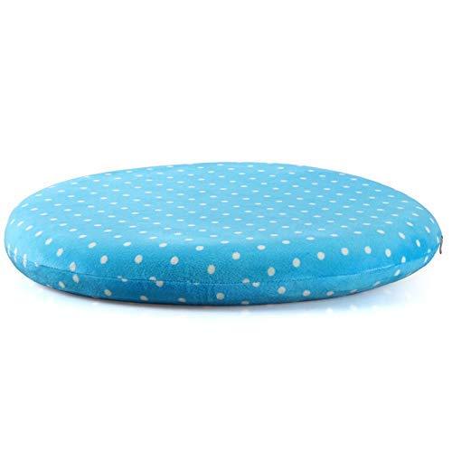 WLGQ Set mit 4 Sitzkissenkissen, gefüllt mit Memory Foam, abnehmbar, rund, Stuhlpolster aus Polyesterfaser für Garten Patio Küche Essdurchmesser 42 cm Dicke 5 cm, blau
