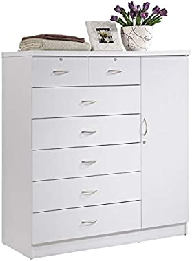 Pemberly Row Tall 7 Drawer Chest with 2 Locking Drawers and Garment Rod or Extra Storage in White
