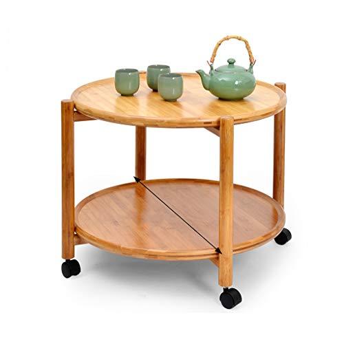 Tables basses Chariot à thé Amovible à Double Rouleau Table à thé Petite Table Mobile de Stockage Simple Moderne (Color : Brown, Size : 67 * 67 * 50CM)