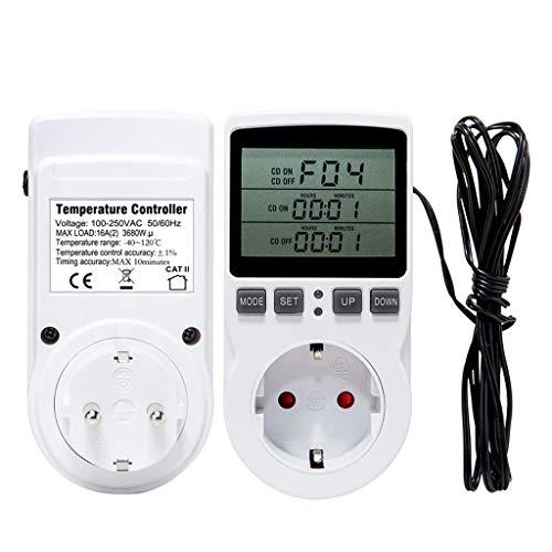 WuLi77 Termostato de enchufe con termostato digital, regulador de temperatura, 16 A, 220 V, 110 V, con temporizador, sensor de prueba, calefacción y refrigeración