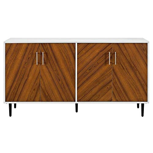 Pemberly Row Mid Century Modern Bookmatched Universal Stand for TV's up to 64' Living Room Buffet Credenza Storage Entertainment Center, 58 Inch, White