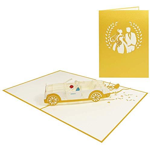 Besondere Handgemachte Pop Up Hochzeitskarte Hochzeitsauto Karte zur Hochzeit mit Brautpaar Verlobung Glückwunsch Zeremonie Jahrestag - Hochzeitscabrio 057