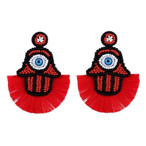 XIGAWAY Pendientes de borla de ojo de diablo con diamantes de imitación y flecos para novias, Piedra,