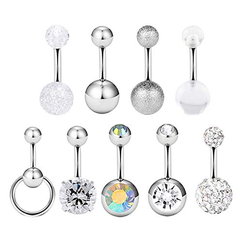 Harilla 9Pieces Belly Ring Dangle Diamond Jewelry Piercing Inlaid for Women Girls - Steal