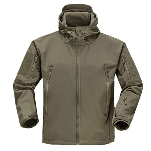 Chaqueta táctica para hombres de superficie suave chaqueta militar con capucha de agua, Ejercito Verde, XXXXL