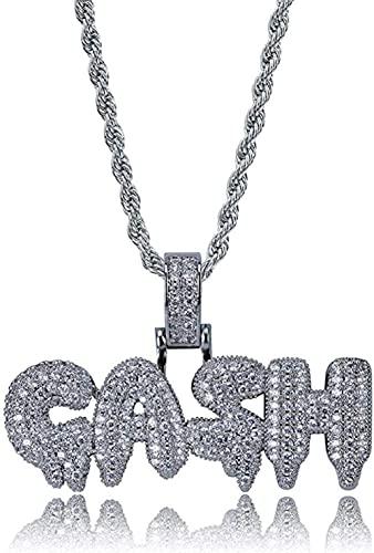 NC96 Buchstabe Wort Anhänger eingelegt Zirkon Trendy Halskette Zubehör-Silber