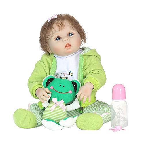 Silikonpuppe, 56 cm, lebensecht, gestreift, mit Frosch-Motiv, für Kinder und Babys