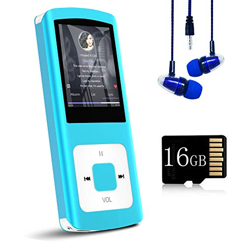 MP3 Player / MP4 Player, Hotechs MP3 Music Player with 16GB Memory SD Card Slim Classic Digital LCD 1.82'' Screen Mini USB Port with FM Radio, Voice Record (Blue)