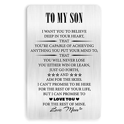 Son Gift from Mom to My Son Engraved Metal Wallet Card Inserts for Men Him,Inspirational Birthday Graduation Wedding Christmas Gifts Idea for Son Teens Boys