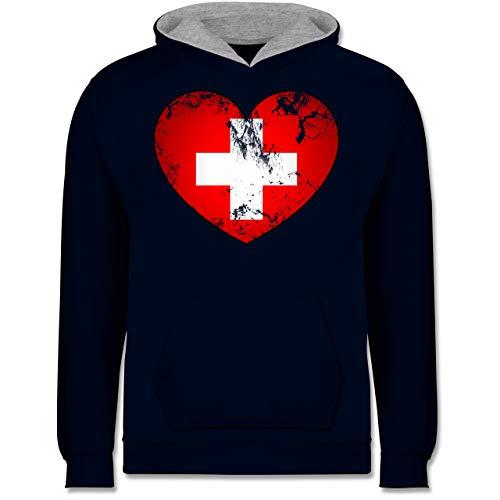 Shirtracer Fußball-Europameisterschaft 2021 Kinder - Schweiz Vintage Herz - 152 (12/13 Jahre) - Navy Blau/Grau meliert - Geschenk - JH003K - Kinder Kontrast Hoodie