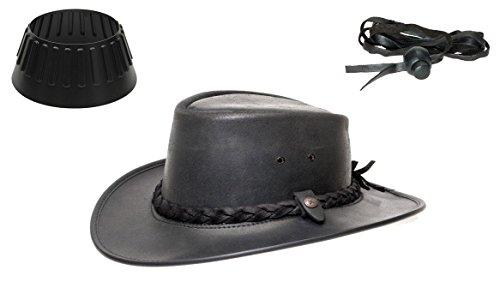 BC BacPac Traveller Hat - Australien Outback Edition - Black Steerhide - XXL 61-62 + Hutablage & Kinnriemchen
