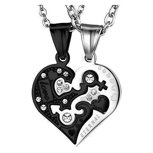 OIDEA Collar Corazón para Parejas Acero Inoxidable Love You Hipoalergénico Regalo Cumpleaños San Valentin Joyeria de Moda Original