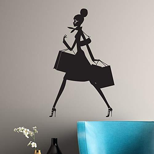 ganlanshu Shopping Mädchen Vinyl Wandtattoo Silhouette Frau Mode mit Einkaufstasche Display Vinyl Aufkleber Wandaufkleber 57cmx91cm