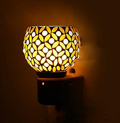 Cartburg Ceramic Incense Holder Aroma Diffuser Kapoor Dani Cum Night Lamp Essential Oil Camphor Burner for Fragrance with Inbuilt On Off Switch Button for Heating Colour Yellow Dn 51