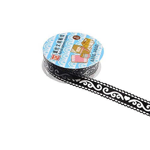 Ogquaton 2 Pcs Creux Dentelle Diary Papeterie Scrapbook Décoratif Autocollant Ruban Adhésif - Noir Pratique Et Pratique