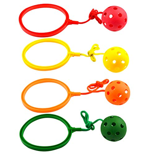 TOYANDONA 4 Piezas Elasticidad Fitness Ball Classic Children Toys Anillo Giratorio de Salto Ball Frosted Single Foot Whirling Ball Toys para niños (Naranja Rojo Amarillo y Verde)