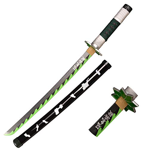 RGRGSH Wooden Cosplay Anime Swords, Shinazugawa Sanemi Samurai Sword, The Special Knife of Demon Slayer Sunwheel Knife Katana 30 in