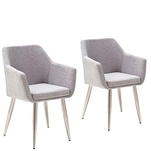 homica 2er Set Esszimmerstuhl mit Armlehnen Sessel Armlehnstuhl Polsterstuhl Stoff Grau Metallfüße in Edelstahloptik Designersessel