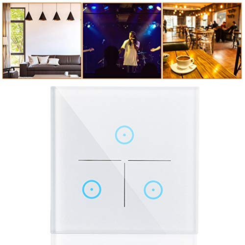 FEBT Interruptor de luz WiFi, Interruptor de Pared de sincronización AC 100-250V, Accesorios de Seguridad de Control táctil Capacitivo para Consola de Seguridad Inteligente de Dispositivos
