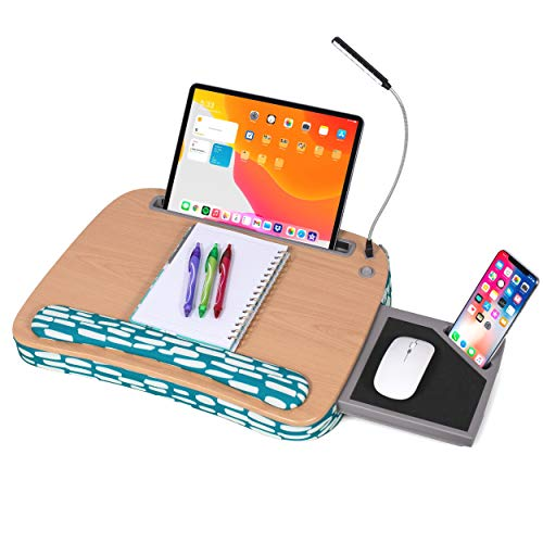 Deluxe Lap Desk for Laptop and Writing - Teal Strokes- Laptop Stand Accessories - Home Office Tray - Work from Home - Car Sofa Chair Couch Portable Desk - Pillow - Reading Light - Tablet Slot