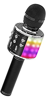 OVELLIC Karaoke Microphone for Kids, Wireless Bluetooth Karaoke Microphone with LED Lights, Portable Handheld Mic Speaker Machine, Great Gifts Toys for Girls Boys Adults All Age (Black)