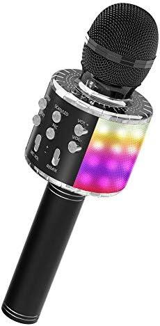 OVELLIC Karaoke Microphone for Kids Wireless Bluetooth Karaoke Microphone with LED Lights Portable product image