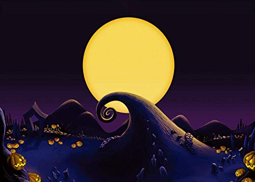 AIIKES 7x5ft Halloween Pumpkin Backdrop The Nightmare Before Christmas for Nightmare Before Moon Themed Photography Background Birthday Baby Shower Photo Backdrop Studio Pictures Party 11-640