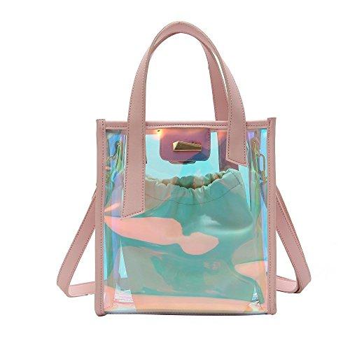 Chique handtas, multifunctionele dames pvc-tenten, gelei tas, schoudertas met trekkoordzak, middelgrote handtas voor strand, reizen en dagelijks gebruik, 22 x 24 x 10 cm, roze