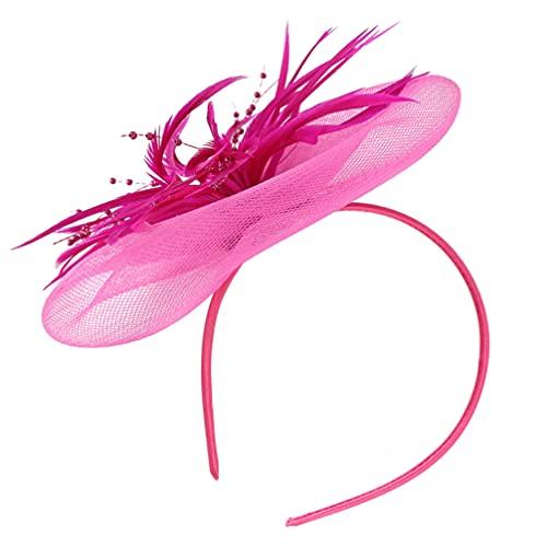 Amosfun Tocado elegante con flores y plumas, red de malla, ideal para...