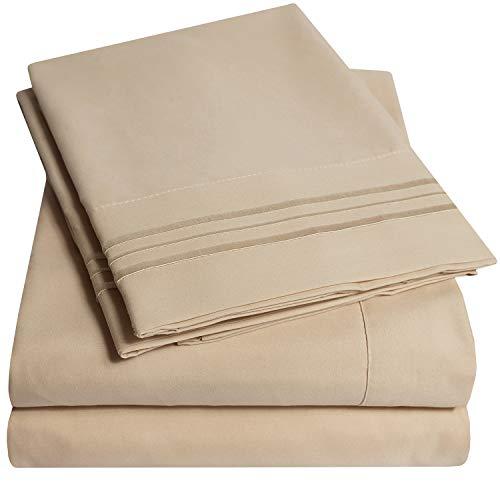 1500 Supreme Collection Bed Sheet Set - Extra Soft, Elastic Corner Straps, Deep Pockets, Wrinkle & Fade Resistant Sheets Set, Luxury Hotel Bedding, King, Taup