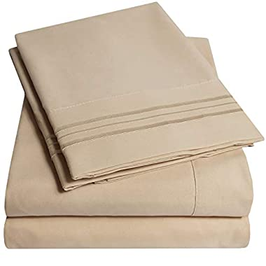 1500 Supreme Collection Bed Sheets Set - Luxury Hotel Style 4 Piece Extra Soft Sheet Set - Deep Pocket Wrinkle Free Hypoallergenic Bedding - Over 40+ Colors - Queen Size, Taupe
