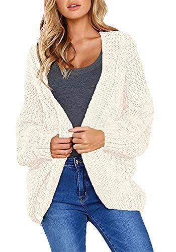 wenyujh Strickjacke Damen Grobstrick Cardigan Strickmantel strickcardigan Kurz Open Front Cardigan Cover Up Outwear mit Tasche Oversize Herbst