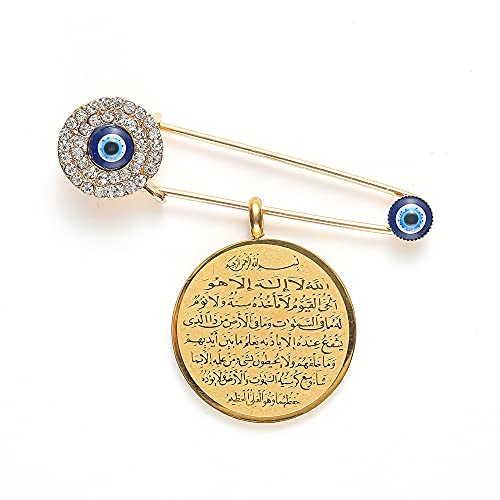 XiaoG Islamic Quran Pendant Evil Eye Brooch Pin Religious Style Amulet Jewelry (Color : Gold)