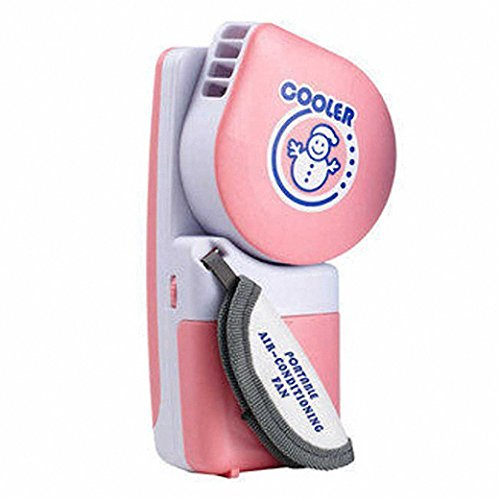 Akanbou Portable Mini Handheld air Conditioner Cooling Fan & Handy Cooler Small Fan Powered by Batteries or USB (Pink)