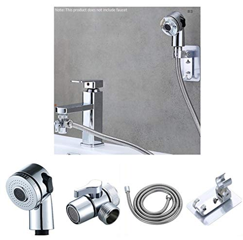 PULLEY Grifo de baño de 2 velocidades ducha externa telescópica pequeña boquilla Set champú ducha (soporte de ducha manguera grifo convertidor)