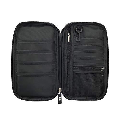 Cartera de viaje familiar con seguridad HDIF. Organizador de documentos, tarjetas y pasaportes con bolsillo para el dinero. Viene con un cinturón. Color negro