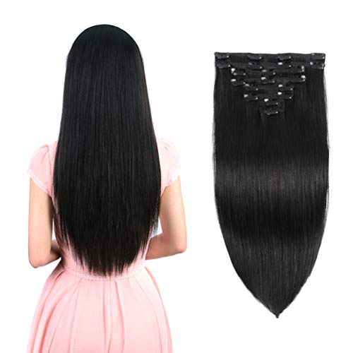 """Real Clip in Hair Extensions Natural Black 8 Pieces - Premium Women Straight Double Weft Thick Remy Hair Extensions Clip in on Human Hair for Long Hair (20"""" / 20 inch, #1B, 122 grams/4.3 Oz)"""