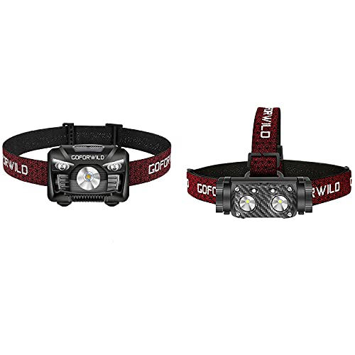 1 Pack of 500 Lumens Rechargeable Headlamp with 1 Pack 1000 Lumen Rechargeable Headlamp for Hard Hat