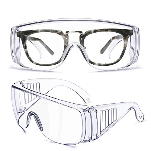 Safety Glasses Industrial Goggles with Anti-fog Lens, Clear Safety glasses with Anti-Scratch Lens Goggles Inside Eyeglasses(Clear)