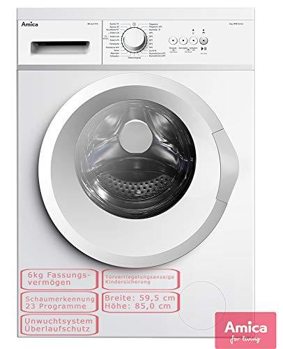 Amica Waschmaschine Frontlader 6kg Startzeitvorwahl Mengenautomatik Schaumerkennung WA 461 015