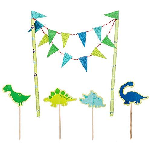 Decoración de tartas dinosaurio cumpleaños niño, azul adorno de tarta banderín cadena guirnalda dino adorno de cupcake tapón de pastel palillo de dientes para bebés niños decoración de fiesta